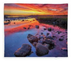 Sunrise Reflections In Harpswell Fleece Blanket