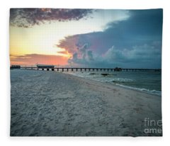 Sunrise Seascape Gulf Shores Al Pier 064a Fleece Blanket