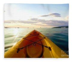 Sunrise Seascape Kayak Adventure Fleece Blanket