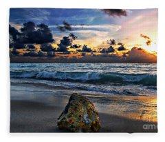 Sunrise Seascape Wisdom Beach Florida C3 Fleece Blanket