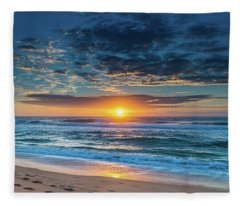 Sunrise Seascape With Footprints In The Sand Fleece Blanket
