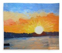 Sunrise At Pine Point Fleece Blanket