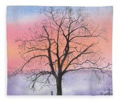 Sunrise Walnut Tree 2 Watercolor Painting Fleece Blanket