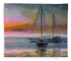 Sunrise With Boats Fleece Blanket