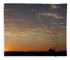 Sunrise With Windmill Fleece Blanket