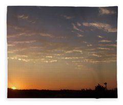 Sunrise With Windmill Fleece Blanket