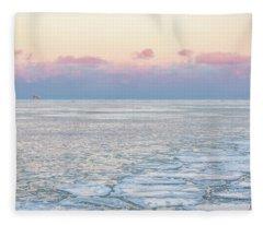 Sunset Across The Frozen Lake Fleece Blanket