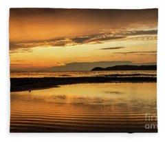 Sunset And Reflection Fleece Blanket