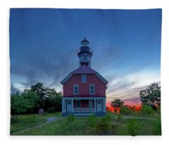 Sunset At Au Sable Point Lighthouse Fleece Blanket