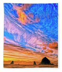 Sunset At Cannon Beach Fleece Blanket