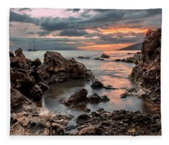 Sunset At Charley Young Beach Fleece Blanket