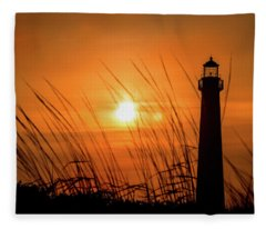 Sunset At Cm Lighthouse Fleece Blanket