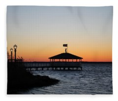 Sunset At Fagers Island Gazebo Fleece Blanket