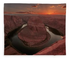 Sunset At Horseshoe Bend Fleece Blanket