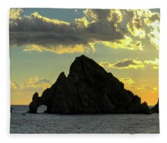 Sunset At Land End The Arch At Cabo San Lucas Fleece Blanket