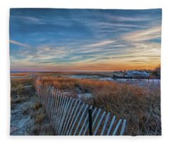 Sunset At Lighthouse Beach In Chatham Massachusetts Fleece Blanket