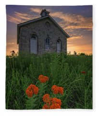 Sunset At Lower Fox Creek Schoolhouse Fleece Blanket