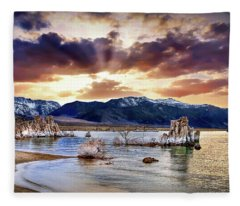 Sunset At Mono Lake Fleece Blanket