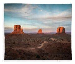 Sunset At Monument Valley Fleece Blanket