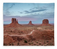 Sunset At Monument Valley No.1 Fleece Blanket