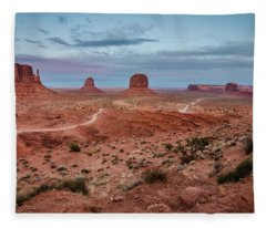 Sunset At Monument Valley No.2 Fleece Blanket