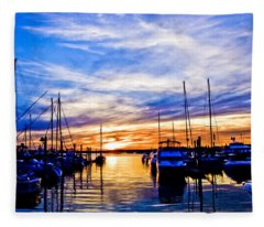Sunset At Newport Fleece Blanket