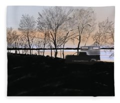 Sunset At Pelican Lake Fleece Blanket