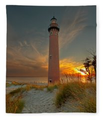 Sunset At Petite Pointe Au Sable Fleece Blanket
