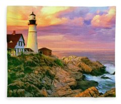 Sunset At Portland Head Fleece Blanket