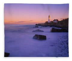 Sunset At Portland Head Light Fleece Blanket