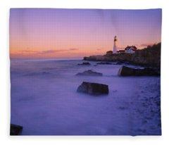 Sunset At Portland Head Light Fleece Blanket