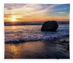 Sunset At San Simeon Beach Fleece Blanket