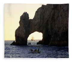 Sunset At The Arch Of Cabo San Lucas   Fleece Blanket