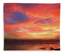 Sunset At The Beach Fleece Blanket