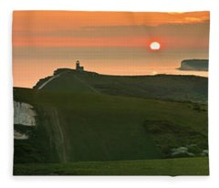 Sunset At The Belle Tout Lighthouse Fleece Blanket