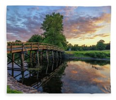 Sunset At The Old North Bridge Fleece Blanket