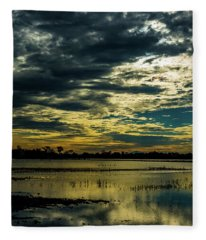 Sunset At The Wetlands Fleece Blanket