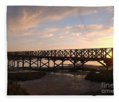 Sunset At The Wooden Bridge Fleece Blanket