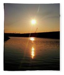 Sunset At Wolf Creek Dam Fleece Blanket