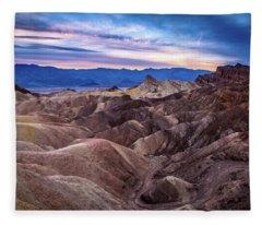 Sunset At Zabriskie Point In Death Valley National Park Fleece Blanket