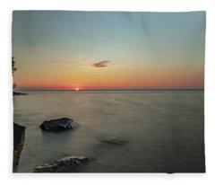 Sunset Bay Sunset - Long Exposure Fleece Blanket