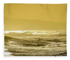 Sunset Beach Aglow  Fleece Blanket