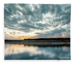 Sunset Behind Small Hill With Storm Clouds In The Sky Fleece Blanket