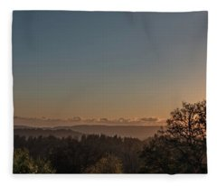 Sunset Behind Tree With Forest And Mountains In The Background Fleece Blanket