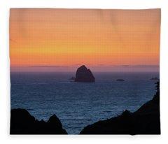 Sunset Behind Yellow Rock Fleece Blanket