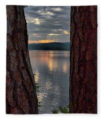 Sunset Between Trees  Fleece Blanket
