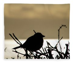 Sunset Bird Silhouette Fleece Blanket