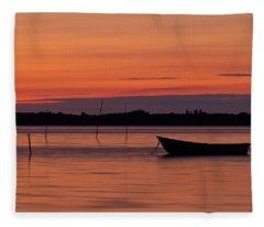 Sunset Boat Fleece Blanket