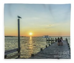 Sunset Tour Boat Off Dewey Destin Fl Pier 1186a Fleece Blanket