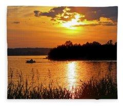 Sunset Boater, Smith Mountain Lake Fleece Blanket